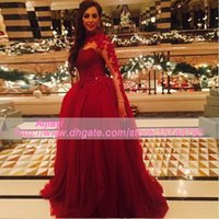 beaded bustiers - Casamento Grace O neck V bustier Red Evening Party Appliques Long Sleeves Ball Gowns Evening Dresses Long Beaded Robe De Soiree Arabic Dress