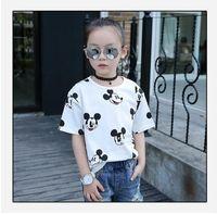 Wholesale Cartoon Mickey Cotton Short Sleeve Kids Girls T shirts Fashion Children Girls Tshirts Baby Girls Clothes ZJ