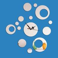 Wholesale Scenic Wall Clocks - New Acrylic 3D Mirror Clocks On Wall Decals,DIY Creative Antique Scenic Home Deocr,Fashion Needle Quartz Watch Living Room Decor