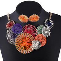 Wholesale 2016 Europe And America Hyperbole Colorful Multi Layer Round Flower Alloy Rope Maxi Earrings Necklace Women Fine Jewelry Sets
