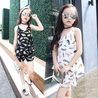 Wholesale Korean Kids Girls Model - 2016 Stylish Summer Children's Models Feather Chiffon Blouse + Sleeveless Shorts Kids Korean Two -piece Set without Necklace