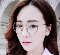Wholesale Plain Glasses Clear Lens Aviator Gold Glasses Fashion Sunglasses Vintage Style Metal Round Frame Korean College Style Full Frame Glasses