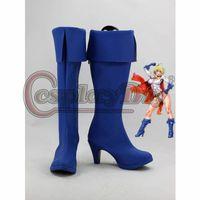 adult superhero shoes - DC Comics Cosplay Boots Power Girl Superhero Blue Cosplay Shoes For Adult Custom Made D0425