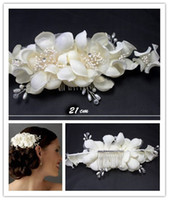 antique hair barrette - Sweet Bridal headdress White Flowers lace Charming Handmade Rhinestones Faux Pearl Bride hair Accessories Stunning Fine Comb Bridal Jewelry