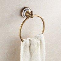 bath furniture bathroom - Bathroom towel holder Wall Mounted Bathroom Towel Ring Ceramic Antique Brass Towel Hanger Ring Holder bath furniture HJ