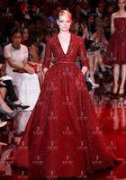 Wholesale 2016 Wedding Dresses ElieSaab Continental Summer Word Shoulder Satin Wine Red Bride Married Toast Wedding Dress