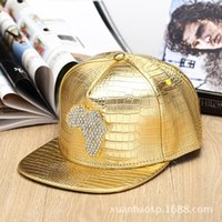 baseball africa - 2016 Fashion Pattern PU Leather Baseball Hat Women and Men Hiphop Street Dancing Alloy Water Drill Africa Map Flat Snapback Cap