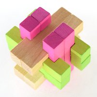 Wholesale Classical Intellectual Wooden Cube Educational Toy Set Wooden Puzzle Set Brain Teaser Kong Ming Luban Lock for Adult Children