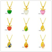 Wholesale Apple peacock brave troops gemstone yellow gold pendant not contain chain pieces a mixed style GTKP11 women s k gold pendant