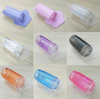 Wholesale 100pcs Nail Art Stamper Clear Jelly Plastic Plate Scraper Transparent Stamp Transfer Square Stamping Plates