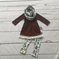 autumn forest - 2016 FALL Winter scarf set children cotton suit baby forest animal girls pieces brown long sleeves pants boutique clothes kids