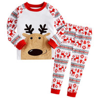 Wholesale Christmas Birthday Outfit For Baby Girl Boy Pajamas Set Spring Winter Kid Deer T Shirt Print Trouser Suit Pyjamas Clothing Tracksuit