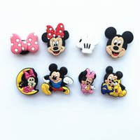 Wholesale Lovely Mickey Minnie PVC Shoe Charms Cartoon Shoe Buckles Accessories Fit Bands Bracelets Croc JIBZ Kids Party Gift Favor