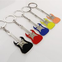 Wholesale In business GUITRAR KEYCHAIN ALSO BOTTLE OPNER Color guitar musical instrument individual key ring key ring advertisement gift key chain