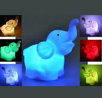 Wholesale Creative Cute Elephant LED Night Light Color Changed Romantic Gift For Home Wedding Decor Good Quality
