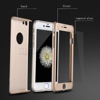 Wholesale Iphone Case Ultra thin Hybrid Degree Full Body Phone Case Cover with Tempered Glass Screen Protector for iPhone Plus SE S