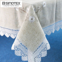 Wholesale 1pcs Linen Table Cloth Lace Flowers Embroiderded Table Cover Square Rustic Tablecloth For Wedding Decorative Home Sizes