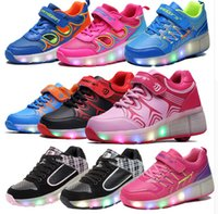 autumn color wheel - 2016 WHEELYS Child Jazzy Heelys Junior Girl Boy LED Light Shoes Children Roller Skate Led Shoes kids Sneakers With Wheels