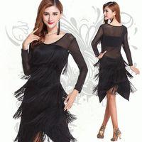 ballroom dancing skirts - Women Black Ballroom Dance Dress Latin Salsa Sheer Long Sleeves Fringe Latin Dancing Dresses Black Color High Quality Dance Skirt Latina