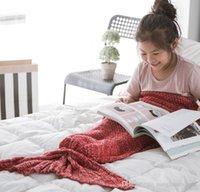 Wholesale 140 cm Children Mermaid Knitted Blankets Soft Warm Crochet Mermaid Tail Sleeping Bag Air Condition Blankets Bed Sofa Blankets PPA392