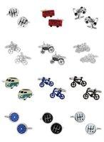 Wholesale Vehicle cufflinks Bus Cufflinks blue color peace car design hot sale copper material cufflinks whoel sale retail