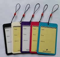 Wholesale PU baggage tag colors option of bags tags id card holder lage tags