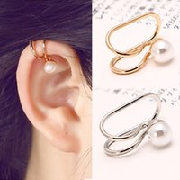 Cheap Gold Plated Ear Cuff Earrings High Quality Pearl Clip On Earring Fashion Costume Jewelry Earing for Women 1PC Price AE203
