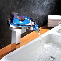 Wholesale Unique Design Higher Body Solid Brass Waterfall RGB LED Color Changing Bathroom Sink Faucet Basin Mixer Tap Chrome