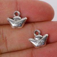 alloy ingot - x12mm Zinc Alloy Antique Silver Ingot DIY Charms Pendants jewelry making DIY