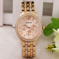 Wholesale Geneva Quartz Watch Rhinestone Fashion Casual Wristwatches Stainless Steel Analog Watches Men