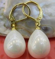 Wholesale 2015 new GENUINE SOUTH SEA SHELL WHITE13 MM PEARL EARRINGS K GOLD