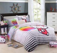 Wholesale 2014 black polka dot Hello Kitty printing comforter set single twin full queen king size duvet bed cover girls bedding bedspread
