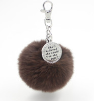 ball stamps - EOSMER mix color DHL genuine rabbit fur plush ball handbag keychain car pendant with cyrstal stamped plate