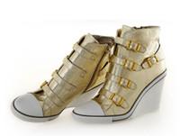 Western ash thelma wedge sneakers - Women s ASH Thelma Wedge Sneakers Gold Leather On Hot Sale High Top ASH Trainers Sheepskin Fashion Tide Women ASH Wedge Sneaker Shoes