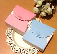 Wholesale 100 Pink Blue Dotted Candy Box Party Wedding Favor Bakery Gift Cookie Cup Cake Box