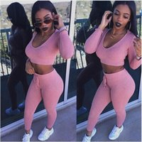 apperal printing - apperal casual rompers womens jumpsuit Long Sleeve Bodycon Hooded Long Pants Sexy outfits pink gray jogging rompers hight quality free shipp
