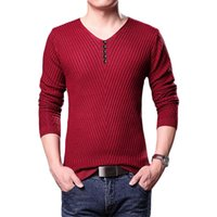 Wholesale Solid Pullover Men V Neck Sweater Men Long Sleeve Shirt Men Shirt Casual Dress Brand Autumn And Winter Knitwear Mens Sweaters