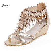 beaded zip ties - European American Fashion Beaded Pearl Pendant Gladiator Sandals Women Summer Flat Shoes Open Toe Women s Wedges Sandals Size