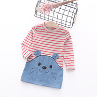 baby patch clothing - Autumn baby Girls cotton Dress long sleeve Fashion striped cartoon cat patched chambray kis clothes quality children dress