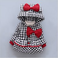 Wholesale Foreign trade new thicken warm winter hooded cotton padded baby coat girls plaid bow cute baby outerwear clothes