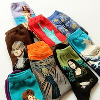 angels fine art - Fine art cotton socks adult s cotton blend socks with Renaissance painting Starry Night Birth of Venus Big Wave The Scream Angel