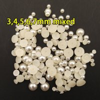 beaded beauty materials - Half round pearl accessories DIY handmade beaded material nail beauty moble phone shell hair jewelry accessories decoration shoes dress