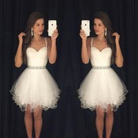 semi formal dress - Spaghetti Straps White Homecoming Dresses with Beading Waistline Tiered Tulle Dresses Sweet Gowns Cocktail Short Semi Formal Dresses