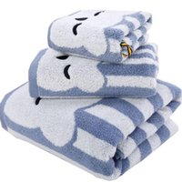 Wholesale brand cotton boys bath towel set blue kids towel washcloth hand towel bath towel