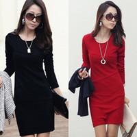 Wholesale Dress Women Autumn new large size women s Slim OL skirt long sleeved temperament Size M L XL XL