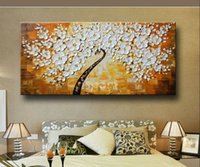 Wholesale High Quality hand Wall Art Home Decoration Modern Abstract yellow white flowers Oil Painting On Canvas Picture For Living Room Sale