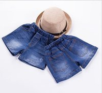Wholesale 2016 children s jeans new tide water wash jeans Girls new shorts elastic waist jean shorts in summer