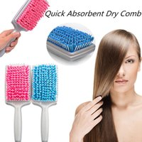 Wholesale 2016 Microfiber Bristles Quick Absorbent Dry Comb Drying Hair Comb Brushes Absorbent Care Combs Radiation Protection for Women