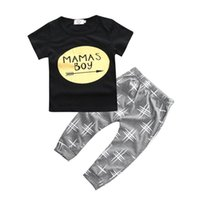baby mama clothes - Ins Brand Baby Boys pc Set Gold Print Mamas Boy T Shirt Harem Pants Baby Clothing Suit Summer Infant jumpsuit Sport Suits Tees Trouser