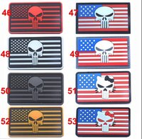 army patches lot - 3D Embroidered Pacth with magic tape Punisher inch American Flag Outdoor Army Armband patch Sew On Patch B28